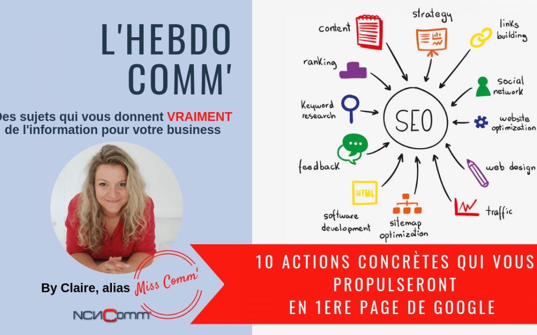 10 actions concrètes qui vous propulseront en 1ere page de Google !