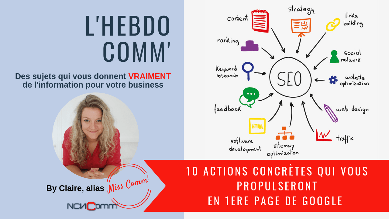 10 actions qui vous aideront à atteindre la 1ère page de google ! NCN Comm' - MissComm Experte marketing et communication